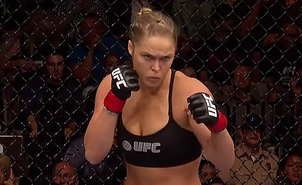 MMA Fighter Ronda Rousey In Fight Mode